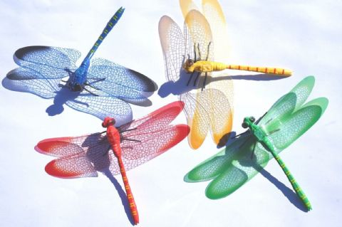 COLOURFUL DRAGONFLY FRIDGE MAGNETS four of 10 cmX 14cm